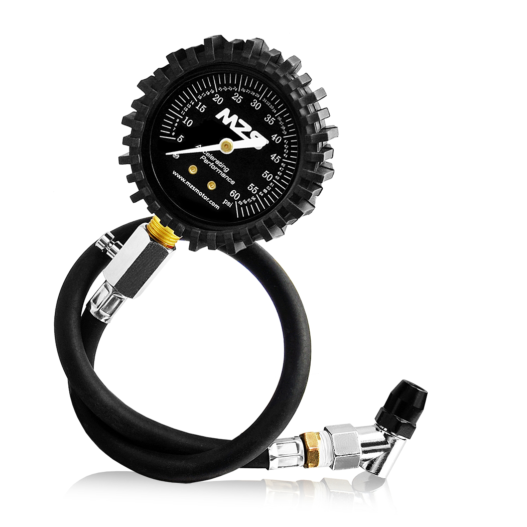 mzs tire pressure gauge for car truck motorcycle rv suv atv with hose 60 psi ebay. Black Bedroom Furniture Sets. Home Design Ideas